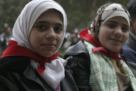 Two Syrian Girls at a Leftist Protest