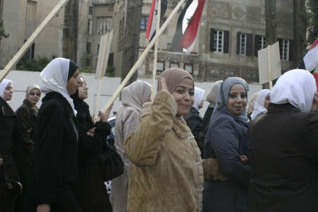 Women in the Streets head towards the Egyptian Embassy
